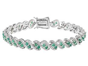 Green Sakota Emerald Sterling Silver Bracelet 4.67ctw