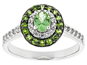 Green Tsavorite Sterling Silver Ring .88ctw