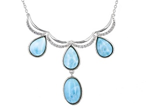 Blue Larimar Sterling Silver Necklace .18ctw
