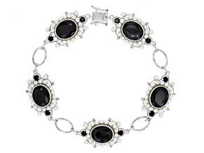 Black Spinel Sterling Silver Bracelet 17.17ctw