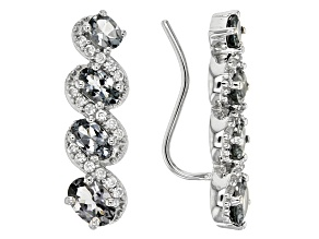 Gray Color Spinel Sterling Silver Climber Earrings 2.31ctw