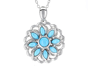 Blue Turquoise Sterling Silver Floral Pendant With Chain