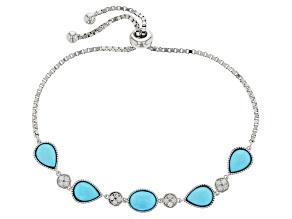 Blue Turquoise Sterling Silver Sliding Adjustable Bracelet .27ctw