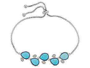 Blue Turquoise Sterling Silver Bolo Bracelet .15ctw