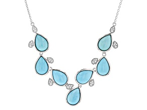 Blue Turquoise Sterling Silver Necklace .25ctw