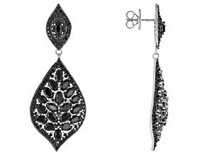 Black Spinel Sterling Silver Dangle Earrings 9.80ctw