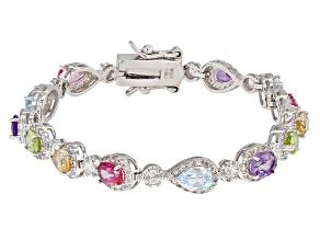 Multi-Gem Sterling Silver Bracelet 7.21ctw