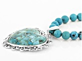 Blue Turquoise Sterling Silver Necklace With Enhancer