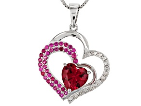 Red Lab Created Ruby Sterling Silver Heart Pendant With Chain 2.84ctw