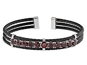 Red Garnet Stainless Steel Cuff Bracelet 5.95ctw