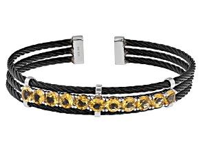 Yellow Citrine Sterling Silver Cuff Bracelet 5.04ctw
