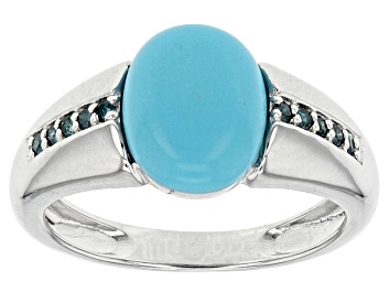 Picture of Blue Turquoise Sterling Silver Ring .09ctw