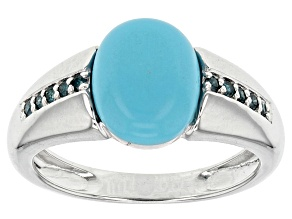 Blue Turquoise Sterling Silver Ring .09ctw