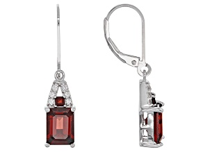 Red Garnet Sterling Silver Earrings 3.44ctw