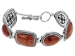 Red Sponge Coral Sterling Silver Bracelet