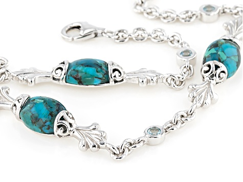 Blue Turquoise Sterling Silver Bracelet .29ctw