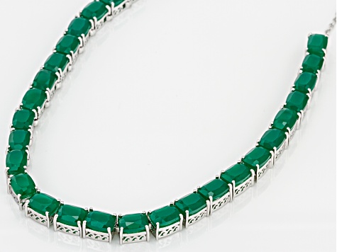 Green Onyx Sterling Silver Tennis Necklace