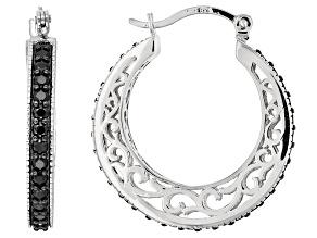 Black Spinel Sterling Silver Hoop Earrings 2.15ctw