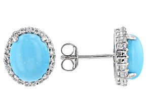 Blue Sleeping Beauty Turquoise Sterling Silver Button Earrings .64ctw