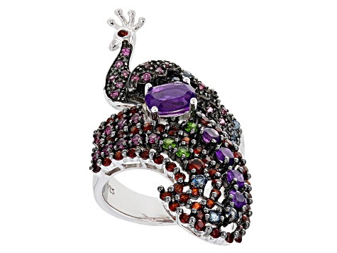 Multi-Gem Rhodium Over Sterling Silver Peacock Ring 2.17ctw