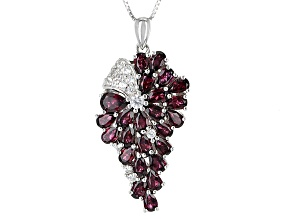 Purple Rhodolite Sterling Silver Pendant With Chain 6.60ctw