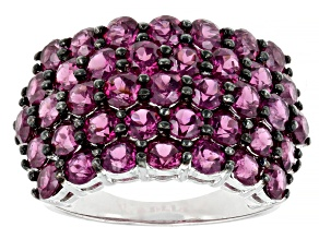 Purple Rhodolite Rhodium Over Sterling Silver Ring 5.27ctw