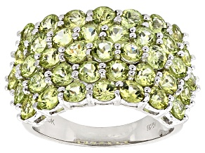 Green Peridot Sterling Silver Ring 4.31ctw