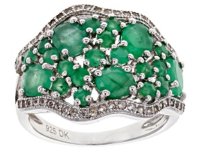 Green Emerald Sterling Silver Ring 2.22ctw