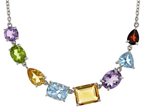 Multi-Gem Sterling Silver Necklace 12.04ctw