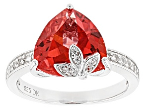 Orange Lab Padparadscha Sapphire Sterling Silver Ring 4.93ctw