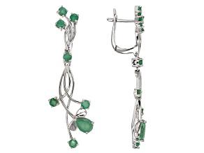 Green Emerald Sterling Silver Earrings 2.52ctw