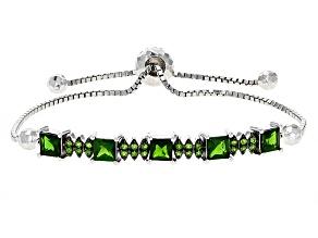Green Chrome Diopside Sterling Silver Bolo Bracelet 3.04ctw