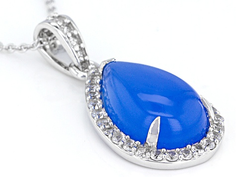 Blue Chalcedony Sterling Silver Pendant With Chain .74ctw