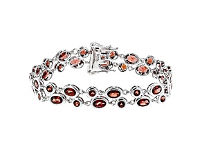 Red Garnet Sterling Silver Bracelet 12.92ctw