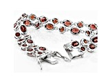Red Garnet Rhodium Over Sterling Silver Bracelet 12.92ctw