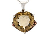 Brown Champagne Quartz Sterling Silver Pendant With Chain 4.68ctw