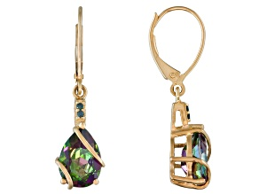 3.96ctw Pear Shape Mystic Topaz, Blue Diamond Accent 10k Yellow Gold Earrings