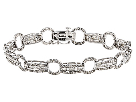 White Diamond 14k Gold Bracelet 3 00ctw