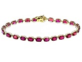 Mahaleo Ruby 10k Yellow Gold Tennis Bracelet 13.33ctw.