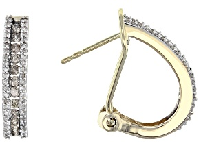 Champagne And White Diamond 10k Yellow Gold Earrings .75ctw