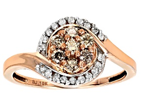 Champagne And White Diamond 10k Rose Gold .50ctw