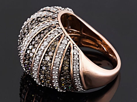 Champagne And White Diamond 10k Rose Gold Ring 2.25ctw