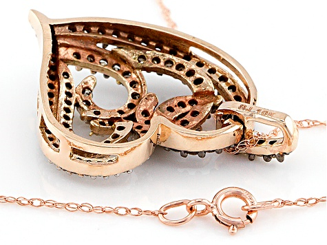 Champagne And White Diamond 10k Rose Gold Pendant .60ctw