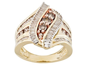 Champagne And White Diamond 10k Yellow Gold Ring 1.48ctw