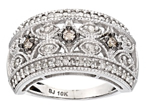 Champagne And White Diamond 10k White Gold Ring .50ctw