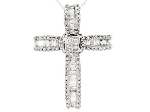 White Diamond 10k White Gold Cross Pendant With 18