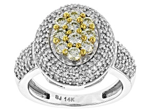 Natural Yellow And White Diamond 14k White Gold Ring .90ctw