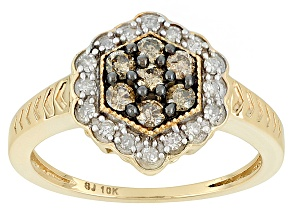 Champagne And White Diamond 10k Yellow Gold Ring .40ctw