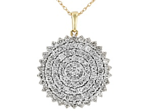 Diamond 10k Yellow Gold Cluster Pendant With 18 Inch Rope Chain 2.00ctw