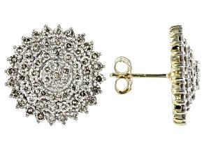 Diamond 10K Yellow Gold Cluster Earrings 2.00ctw